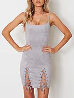 Damen Bodycon Kleid-Party Klub Sexy Einfach Street Schick Solide Gurt Mini Ärmellos Polyester Frühling Sommer Mittlere Hüfthöhe