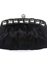 Women Bags All Seasons Silk Evening Bag Beading Ruffles for Wedding Event/Party Black Purple Yellow Wine Khaki