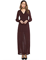 SUOQI Women's Party Going out Simple Sheath Dress,Solid V Neck Maxi Long Sleeves Polyester Fall Mid Rise Micro-elastic Medium