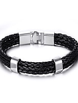 Men's Women's Leather Bracelet Hip-Hop Rock Leather Titanium Steel Tube Jewelry For Party Birthday Gift Evening Party