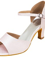 Women's Latin Leatherette Sandal Heel Professional Buckle Draped Customized Heel Blushing Pink 1 - 1 3/4 2 - 2 3/4 3 - 3 3/4 4 & Up