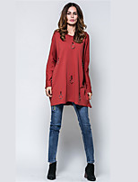 Women's Holiday Casual/Daily Street chic Fall Winter T-shirt,Solid Round Neck Long Sleeves Cotton Polyester