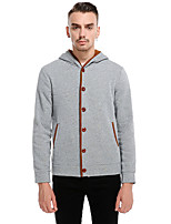 Men's Casual/Daily Simple Street chic Hoodie Solid Color Block Hooded Micro-elastic Cotton Long Sleeve Winter