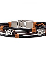 Men's Women's Leather Bracelet Fashion Personalized Leather Alloy Round Jewelry For Casual Going out