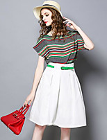 Women's Casual/Daily Work Simple Summer Shirt Skirt Suits,Striped Round Neck ¾ Sleeve