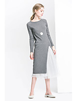 PLAYACH Women's Going out Cute Sheath DressPatchwork Round Neck Midi Long Sleeves Rayon Fall Mid Rise Micro-elastic Medium