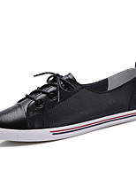 Women's Shoes Real Leather Spring Fall Comfort Sneakers Flat Heel Round Toe Split Joint For Casual Black White