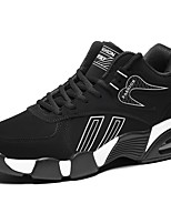 Men's Shoes Cowhide Fall Winter Comfort Sneakers Lace-up For Casual Outdoor Black/Blue Black/Red Black/White