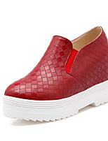 Women's Shoes PU Spring Fall Comfort Sneakers Flat Heel Round Toe For Outdoor Office & Career Red Silver Black White