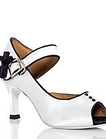 Для женщин Латина Шёлк Сандалии Концертная обувь Кубинский каблук Белый Розовый 5 - 6,8 см 7,5 - 9,5 см Персонализируемая