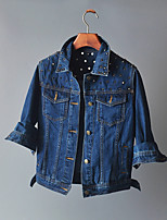 Women's Going out Casual/Daily Simple Spring Fall Denim Jacket,Solid Shirt Collar Long Sleeve Regular Others Beaded