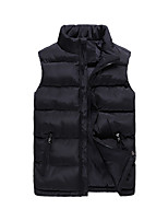 Men's Regular Padded Coat,Simple Chinoiserie Plus Size Casual/Daily Solid-Polyester Polypropylene Long Sleeves