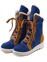Femme Chaussures Daim Automne Hiver Bottes de neige Bottes à la Mode Confort Nouveauté Bottes Talon Plat Bout rond Bottes Mi-mollet Lacet
