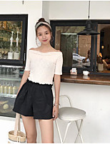 Women's Going out Simple Summer T-shirt Pant Suits,Solid Boat Neck Short Sleeve