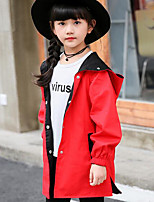 Girls' Color Block Trench Coat,Others Fall