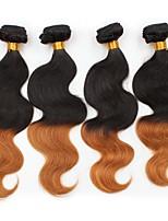 vierge Cheveux Brésiliens A Ombre Ondulation naturelle Extensions de cheveux 4 Noir / Medium Auburn