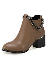Feminino Sapatos Couro Ecológico Outono Inverno Botas da Moda Curta/Ankle Forro de fluff Botas Ponta Redonda Botas Curtas / Ankle Para