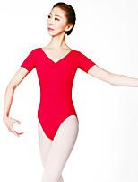 Balé Mulheres Apresentação Fibra Sintética 1 Peça Manga Curta Natural Malha Collant