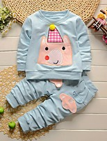 Girls' Others Solid Sets,Cotton Spring Fall Long Sleeve Clothing Set