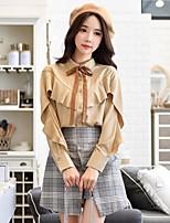 Langærmet Krave Medium Damer Ensfarvet Forår Efterår Vintage Simpel Sødt I-byen-tøj Arbejde Skjorte,Polyester Spandex