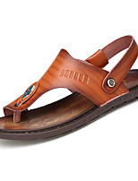 Men's Sandals Mary Jane Summer PU Athletic Buckle Flat Heel Royal Blue Khaki Light Brown Flat