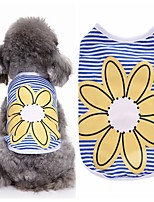 Dog Shirt / T-Shirt Vest Dog Clothes Party Casual/Daily Fashion Floral/Botanical Blue