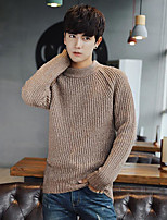 Men's Beach Regular Pullover,Solid Crew Neck Long Sleeves Others Spring Summer Medium Micro-elastic