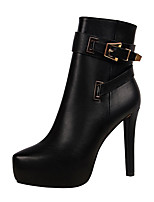 Для женщин Обувь Полиуретан Осень Зима Удобная обувь Армейские ботинки Ботинки На шпильке На платформе Заостренный носок Ботинки Пряжки