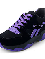 Women's Shoes Suede Spring Summer Light Soles Sneakers Running Shoes Flat Heel Round Toe Lace-up For Casual Dress Red Purple Black
