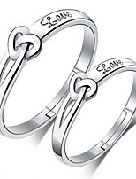 Couple's Couple Rings Classic Elegant Silver Plated Heart Jewelry For Wedding Engagement