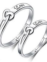 Couple Couple de Bagues Classique Elegant Plaqué argent Forme de Coeur Bijoux Pour Mariage Fiançailles