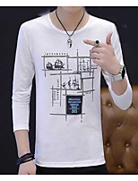 Men's Casual/Daily Sweatshirt Print Round Neck Micro-elastic Others Long Sleeve Fall