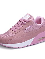 Women's Shoes Leatherette Fall Comfort Light Soles Sneakers Flat Heel Round Toe Split Joint Lace-up For Casual Outdoor Blushing Pink