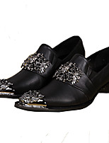 Men's Shoes Nappa Leather Spring Fall Comfort Novelty Loafers & Slip-Ons Rivet For Wedding Party & Evening Black