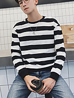 Men's Casual/Daily Simple Sweatshirt Striped Round Neck Inelastic Others Long Sleeve Fall