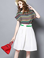 Women's Going out Vintage Summer T-shirt Skirt Suits,Solid Striped Round Neck Short Sleeve