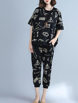 Women's Casual/Daily Simple Summer Shirt Pant Suits,Print Round Neck Short Sleeve