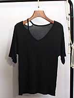 Women's Going out Street chic Summer T-shirt,Solid V Neck Short Sleeves Others Medium