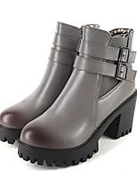 Femme Chaussures Polyuréthane Automne Hiver Botillons Confort Nouveauté Bottes à la Mode Bottes Gros Talon Bout rond Bottine/Demi Botte
