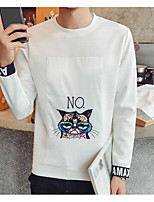 Men's Casual/Daily Sweatshirt Print Round Neck Micro-elastic Cotton Polyester Long Sleeve Fall