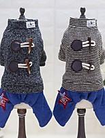 Cane Tuta Abbigliamento per cani Casual Righe Grigio Caffè