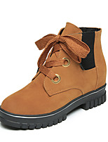Women's Shoes Leatherette Fall Winter Comfort Boots Flat Heel Booties/Ankle Boots Lace-up For Casual Light Brown Green Black
