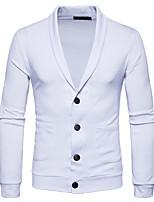 Standard Cardigan Da uomo-Casual Per uscire Semplice Tinta unita Colletto Manica lunga Cotone Primavera Autunno Medio spessore