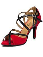 Women's Latin Flocking Silk Sandal Heel Sneaker Indoor Splicing Stiletto Heel Red Black 3