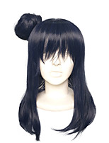 Women Synthetic Wig Capless Long Straight Black/Blue Bob Haircut With Bangs Halloween Wig Cosplay Wig Costume Wig