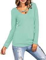 Damen Blumen Retro Street Schick Ausgehen Lässig/Alltäglich T-shirt,Rundhalsausschnitt Frühling Herbst Langarm Polyester Mittel
