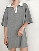 Tee-shirt Femme,Couleur Pleine Sortie Chic de Rue Manches Courtes Col de Chemise Coton
