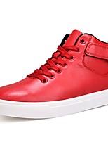 Da uomo Scarpe PU (Poliuretano) Primavera Autunno Suole leggere Sneakers Nastro a strappo Per Casual Bianco Nero Rosso
