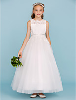 Ball Gown Crew Neck Ankle Length Lace Tulle Junior Bridesmaid Dress with Beading Appliques Sash / Ribbon by LAN TING BRIDE®