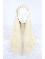 Women Synthetic Wig Capless Long Curly Yellow Cosplay Wigs Costume Wigs